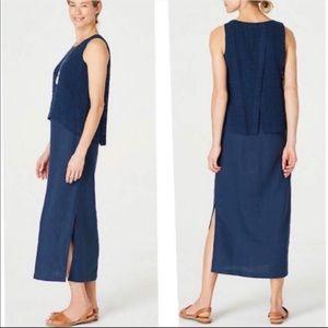 J Jill Maxi Dress Blue Gauze Linen Medium Tall